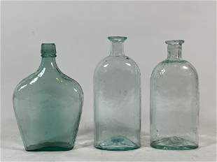 """THREE EARLY AMERICAN PALE BLUE BOTTLES, 8"""" AND 7.5"""" AND"""