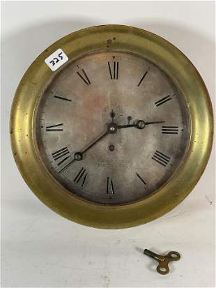 """A1N ANTIQUE 10"""" DIAMETER CHELSEA SHIPS CLOCK. WITH KEY"""