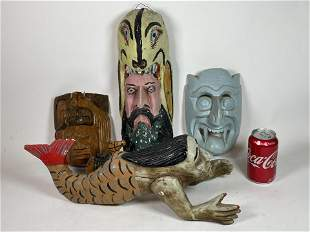 """5 PIECES CARVED WOOD SOUTH AMERICAN FOLK ART. 19"""" AND"""