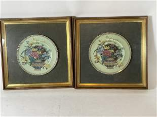 """2 ENGLISH FRAMED HAND PAINTED STAFFORDSHIRE PLATES """""""