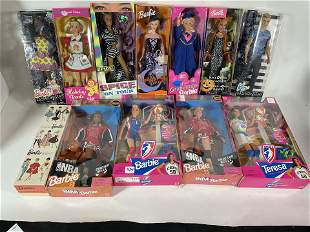 LARGE LOT OF BOXED BARBIE DOLLS (12) IN ORIGINAL BOXES,
