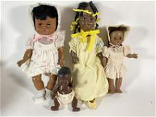TWO AFRICAN AMERICAN VINTAGE DOLLS, A GINNY BABY DOLL,