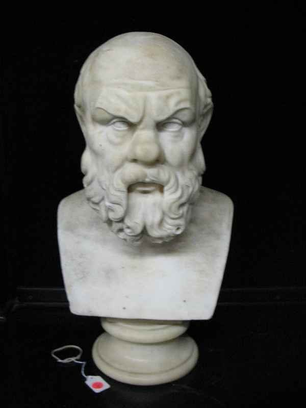 "428276: 22"" MARBLE BUST OF HIPPOCRATES"