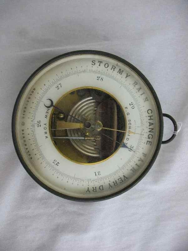 428003B: ANTIQUE BRASS HOLOSTERIC BAROMETER