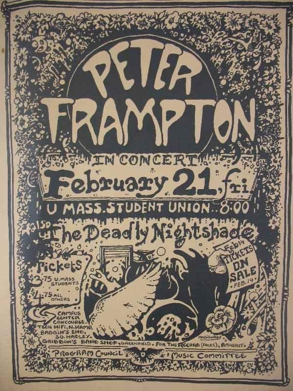 421111: 1970'S PETER FRAMPTON UMASS CONCERT POSTER WITH