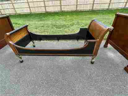 AN ORMALU MOUNTED MAHOGANY EMPIRE DAY BED. PROPERTY OF