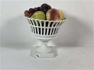 A 19TH CENTURY GERMAN PORCELAIN RETICULATED BASKET