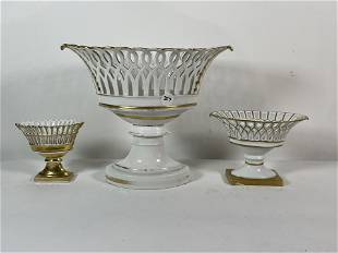 """4 GILDED PORCELAIN BASKETS 12"""" X 9"""" AND SMALLER."""