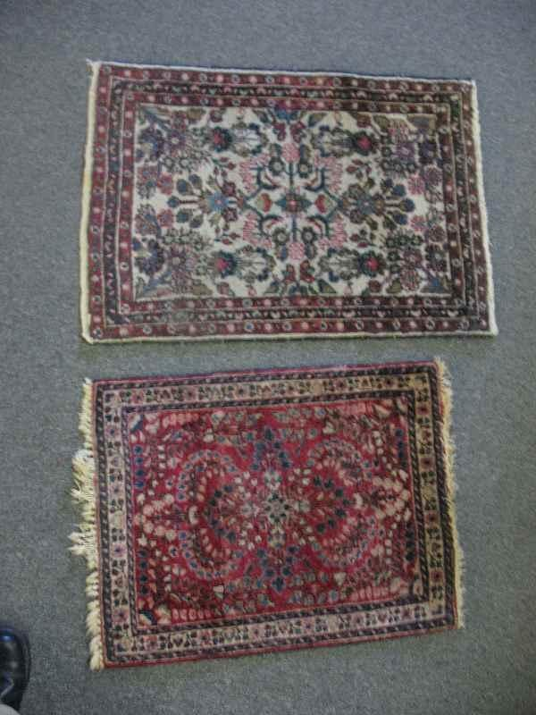 """630001W: (2) ANTIQUE PERSIAN MATS, LARGER IS 35"""" X 25"""""""
