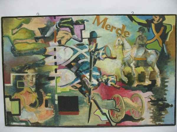 """1212045A: OIL PAINTING BY LARRY RIVERS """"MERDE"""""""