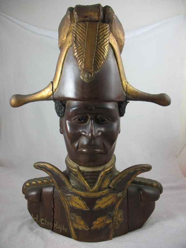 3260018: CARVED MAHOGANY BUST W/GOLD PAINT OF H CHRISTO