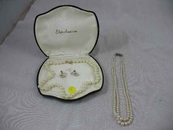 3260019: PEARL AND STERLING NECKLACE BY ELGIN AMERICAN