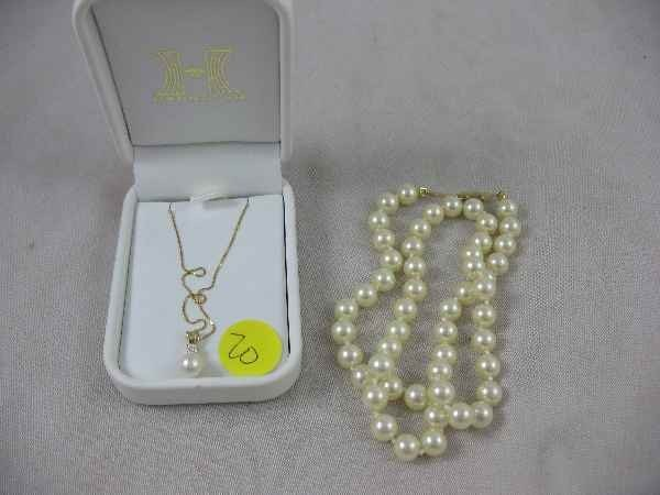 3260020: 17' 14K GOLD, DIAMOND, AND PEARL NECKLACE MADE