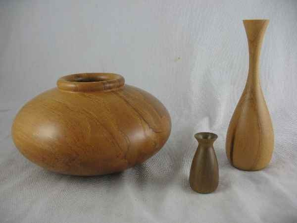 "5250006: 3 NZ KAURI CONTEMPORARY TREENWARE VASES. 7""d,"