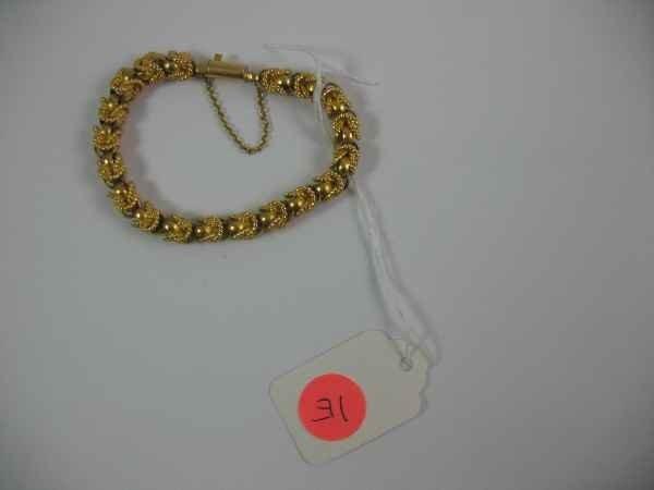 7270001E: 18K GOLD HAND-FABRICATED ROPE BRACELET MARKED