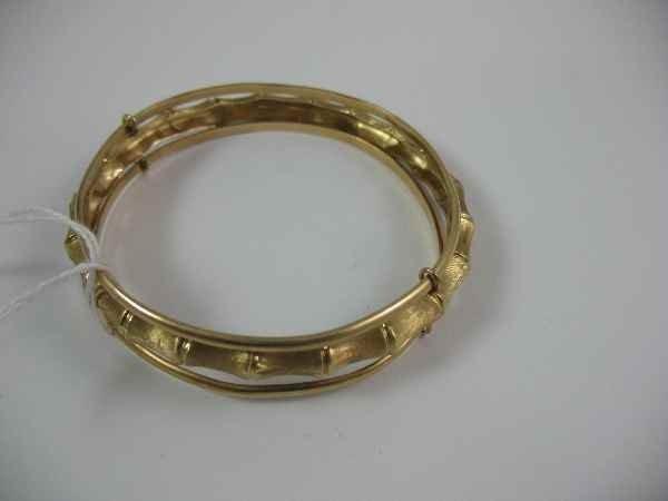 7270001G: 14K GOLD 3-PART BAMBOO-FORM BANGLE BRACELET /