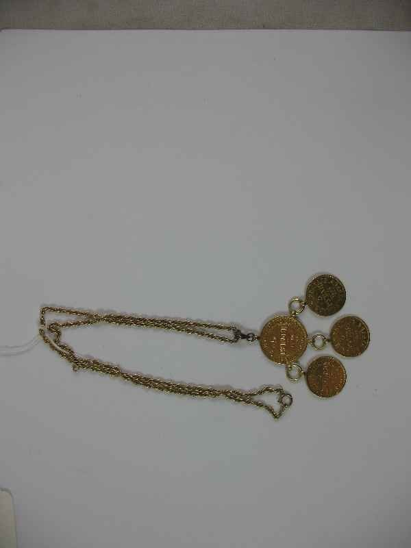 7270001K: 14K GOLD CHAIN W/ GOLD COIN PENDANT / 28.47 G