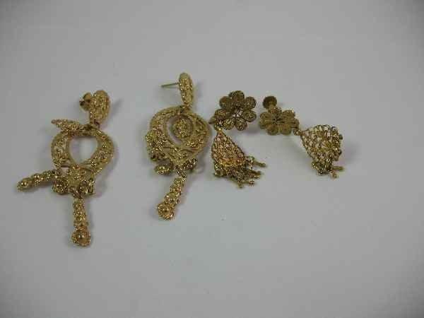 7270001N: 14K GOLD EARRINGS, 2 PAIR / 15.85 GRAMS