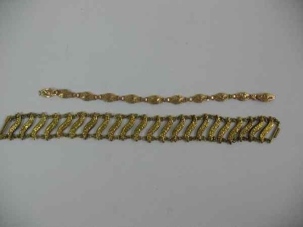 7270001O: 2 14K GOLD BRACELETS / 14 GRAMS
