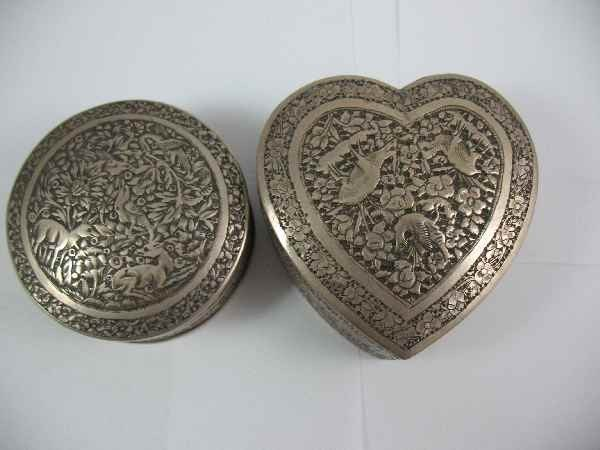 7270002G: 2 PERSIAN SILVER HAND-CHASED BOXES