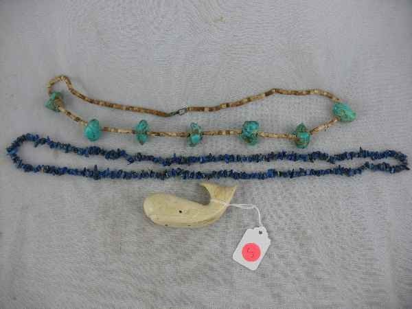 7270005: STONE JEWELRY INC. TURQUOISE, WHALE TOOTH CARV