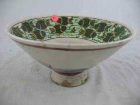 """HAND-PAINTED IRANIAN BOWL / 9.5"""" D 5"""" T"""
