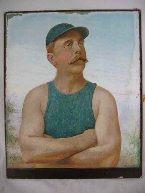 7270015: ELMER CHICKERING HAND-PAINTED PHOTO OF FRED PL