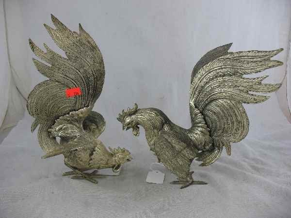 7270020: PAIR OF SILVER ROOSTERS / MARKED J. B.
