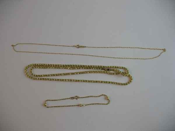 10190013: 3 14 K GOLD CHAINS: 2 NECKLACES, 1 BRACELET (
