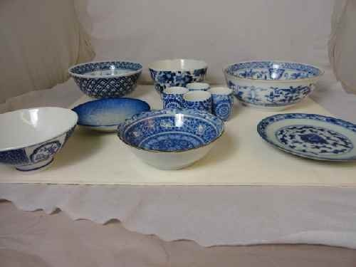 12210010: 11 PC. CHINESE BLUE & WHITE PORCELAIN