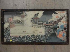 12210050D: JAPANESE WOODBLOCK TRIPTYCH OF NAVAL BATTLE,