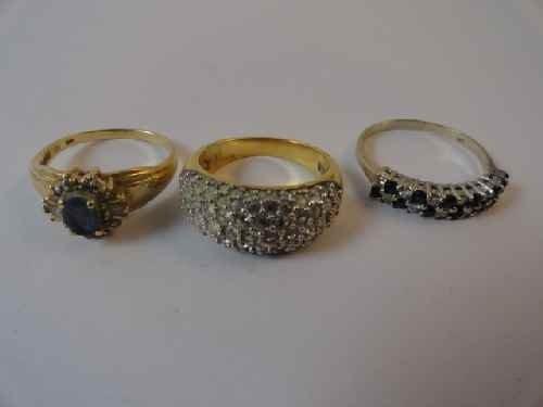 12210050Y: 2 14 K GOLD RINGS W/ DIAMONDS & GARNETS