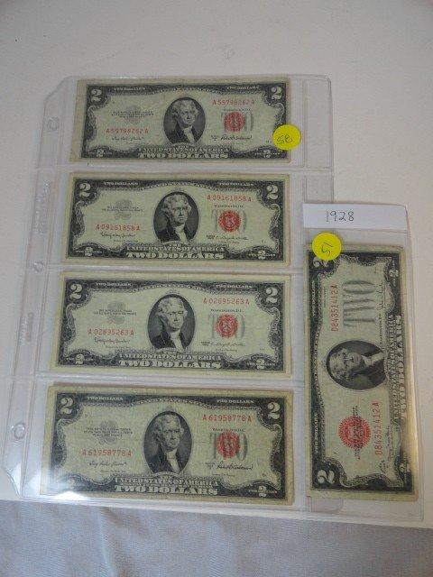 12210051: 5 $2 BILLS: 1928~63