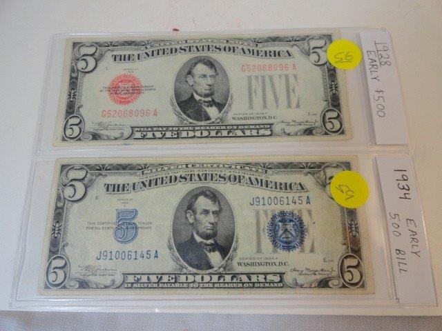12210056: 2 $5 BILLS: 1928 & 1934