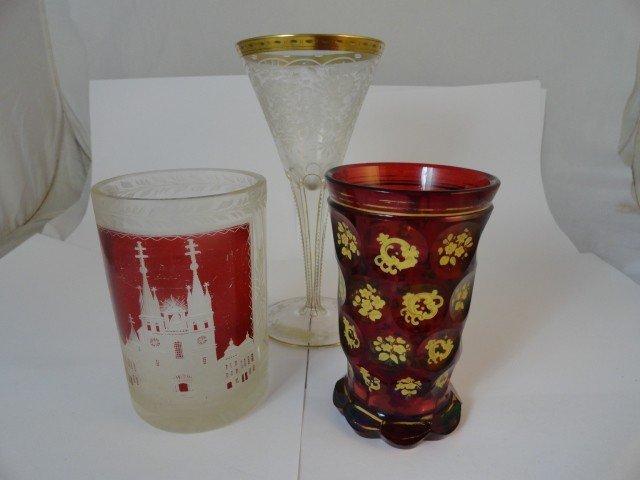 12210100C: 2 BOHEMIUM & 1 ETCHED-GLASS WINE GLASS