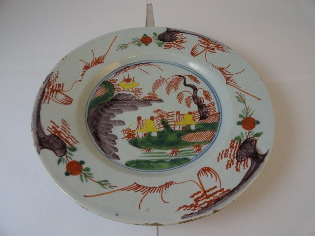 12210100G: 18TH C. DUTCH DELFT PLATE, OLD CHRISTIES LAB