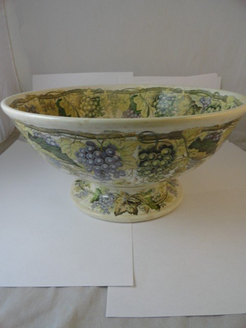 12210100P: ENGLISH DHP & CO. GRAPE DECORATED PUNCH BOWL