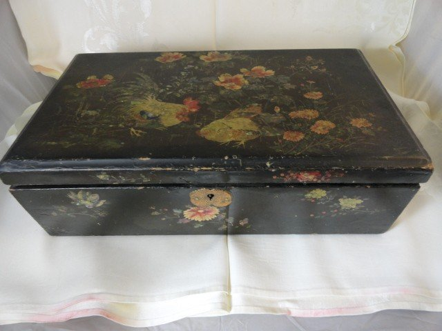 12210100T: LACQUERED ANTIQUE CHINESE LAP DESK MOP INLAY