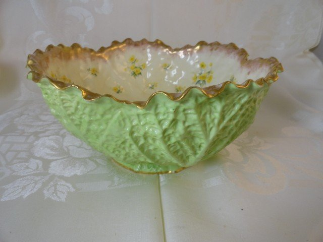 12210100U: 19TH C. CABBAGE-FORM ENGLISH CENTER BOWL FOR