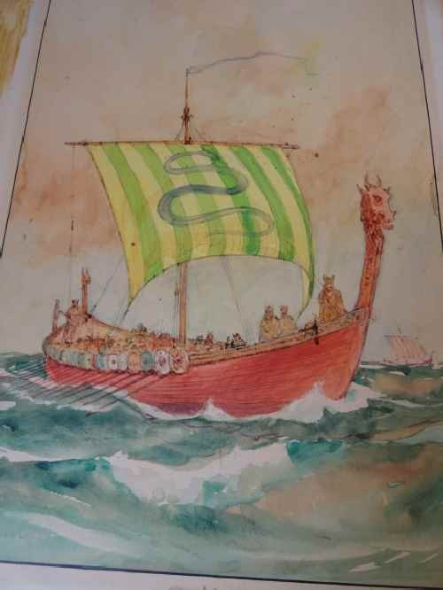 12210103: WATERCOLOR OF A VIKING SHIP BY GORDON GRANT (