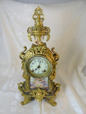12210027M: 19TH C. FANCY DORE BRONZE MANTLE CLOCK W/ HP