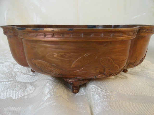 """12210027N: CHINESE COPPER-FOOTED DISH MARKED """"SHOUSHAN"""