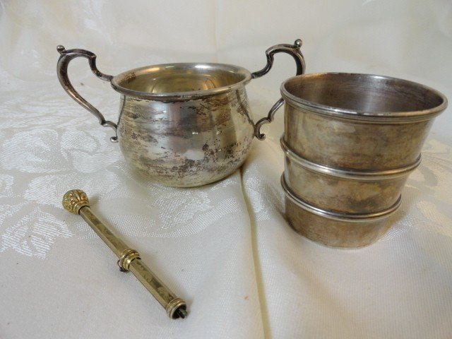 12210027O: 2 STERLING CUPS & 1 GOLD-FILLED MECHANICAL P