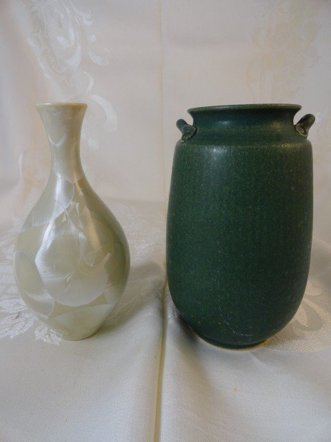 12210027P: 2 SIGNED PIECES OF ART POTTERY