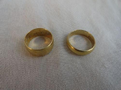 2290011: 2 14K GOLD WEDDING BANDS (13.5 G)