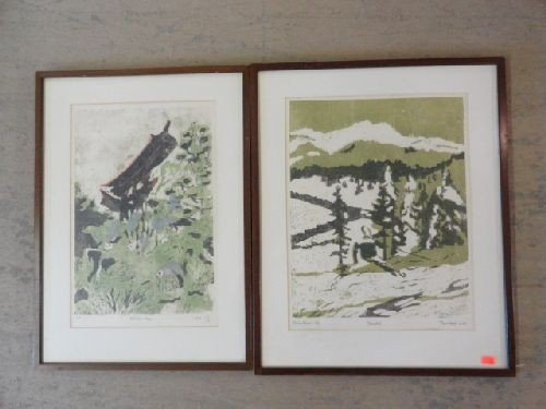 2290023: 2 TOM WARD WOODBLACK PRINTS IN THE CHINESE STY