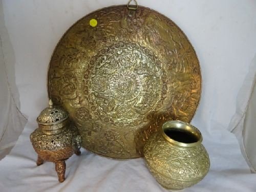 2290089: THAI COPPER AND SILVER CENSOR, BRASS VASE AND