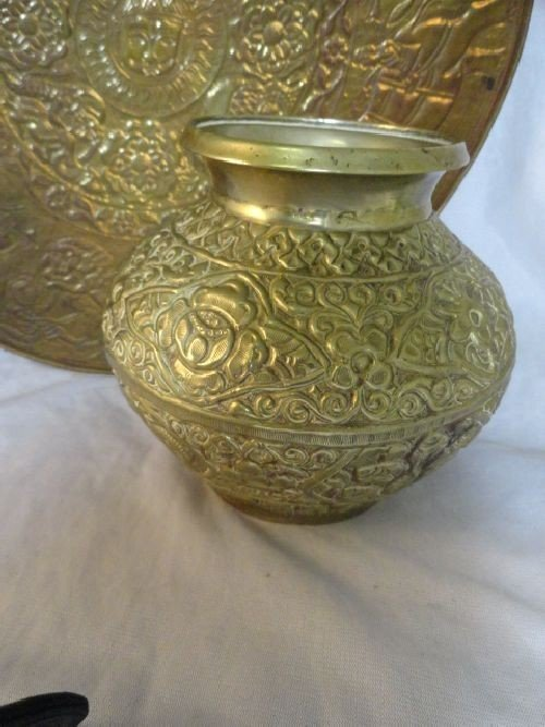 2290089: THAI COPPER AND SILVER CENSOR, BRASS VASE AND  - 2
