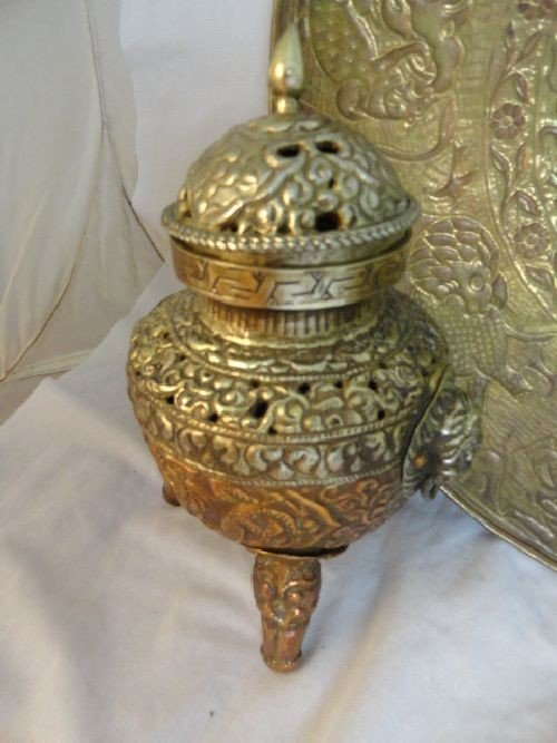 2290089: THAI COPPER AND SILVER CENSOR, BRASS VASE AND  - 3