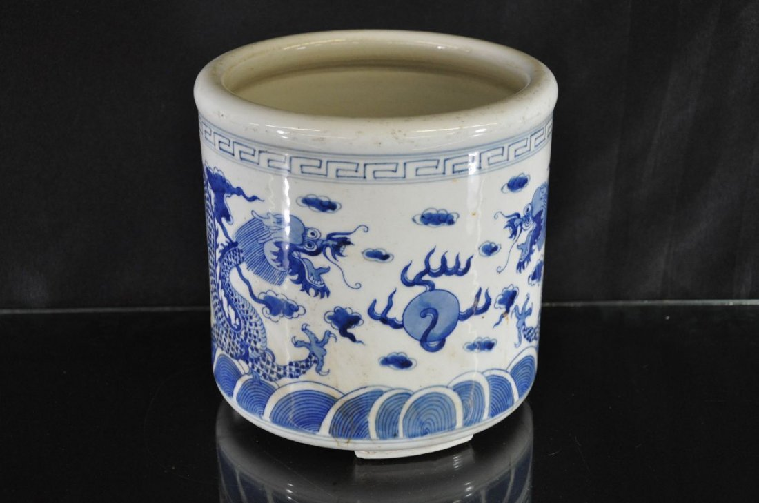 6290005: CHINESE 19TH C. BLUE AND WHITE PORCELAIN BRUSH